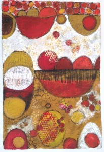 Circles unbound 4, mixed media on handmade textured paper 50 x 76cm
