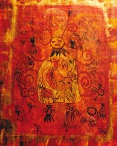 Red goddess, mixed media, 50 x 60cm