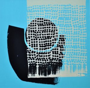 Gently Held 3, mono screen print by Suzanne Bethell