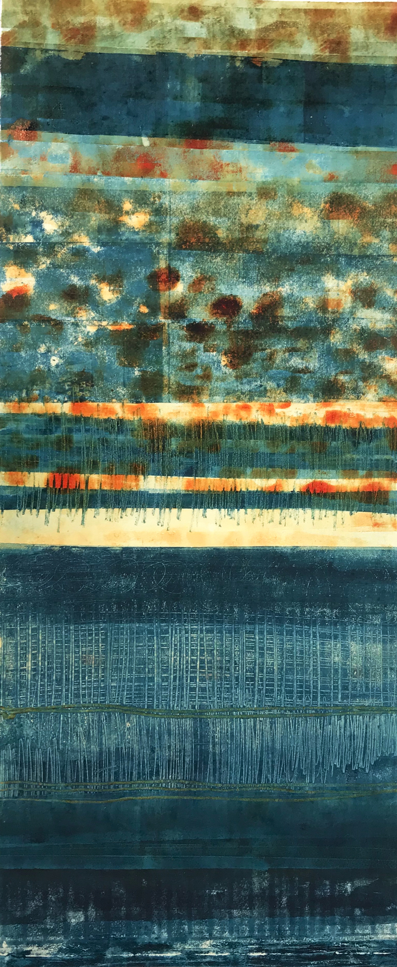 Prussian-Blue-4, monotype by Suzanne Bethell